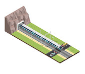Isometric train railroad and cars vector illustration background