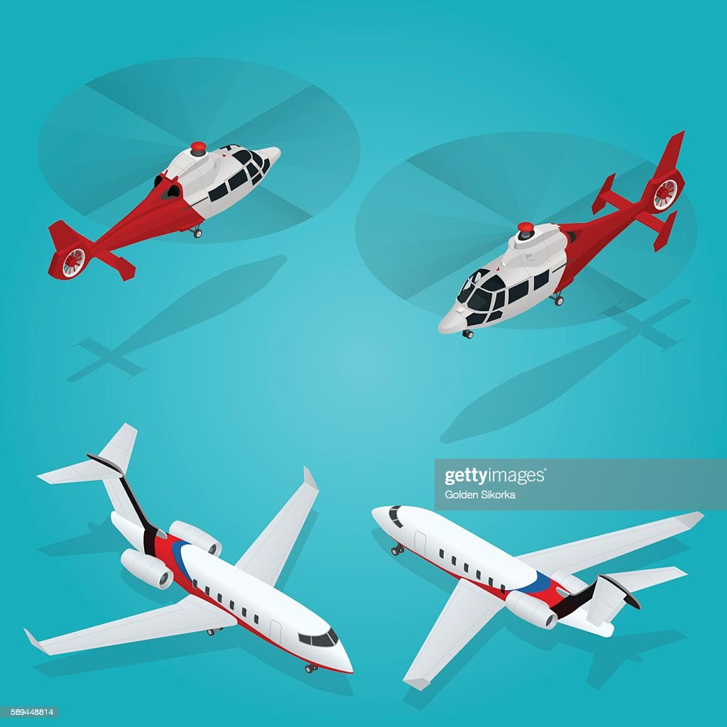 Isometric Transportation Helicopter and Private jet. Aircraft Vehicle.