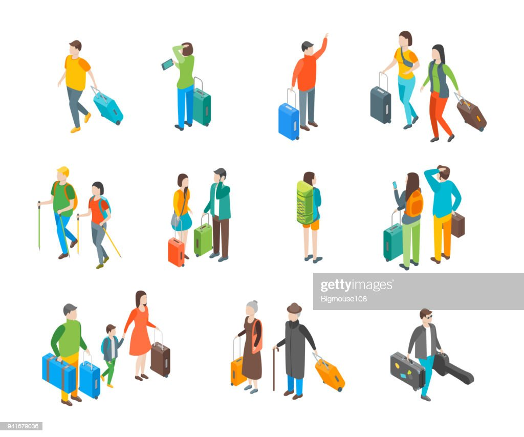Isometric Travel People Characters Icon Set. Vector