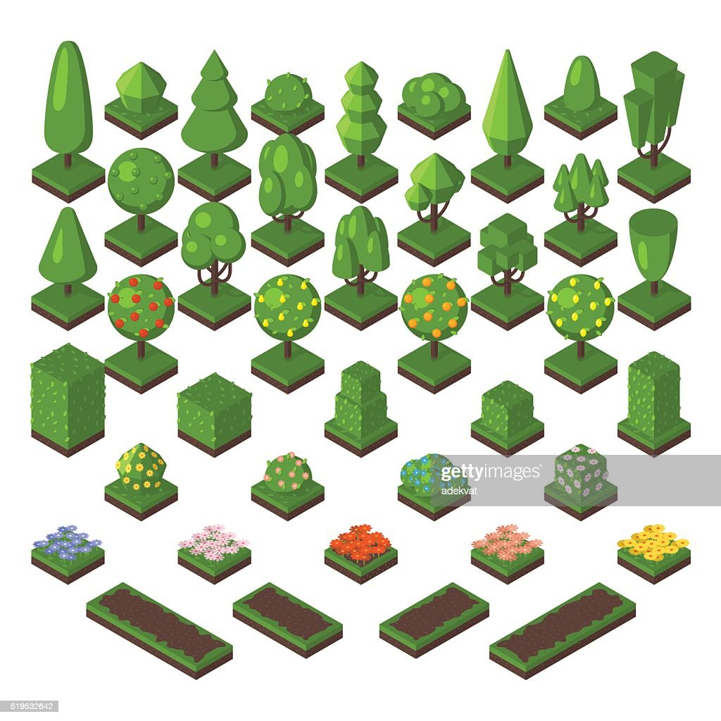 Isometric tree set green forest nature vector illustration