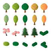 Isometric trees and bushes vector set. Isometric trees icon set.