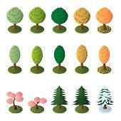 Isometric trees set. Vector.
