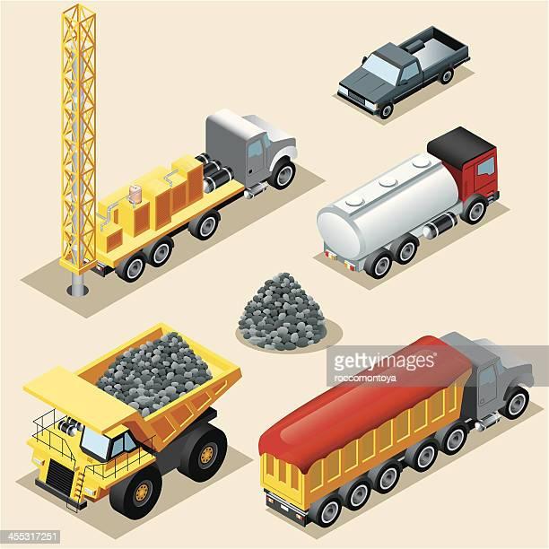 isometric, trucks - drilling rig stock illustrations, clip art, cartoons, & icons