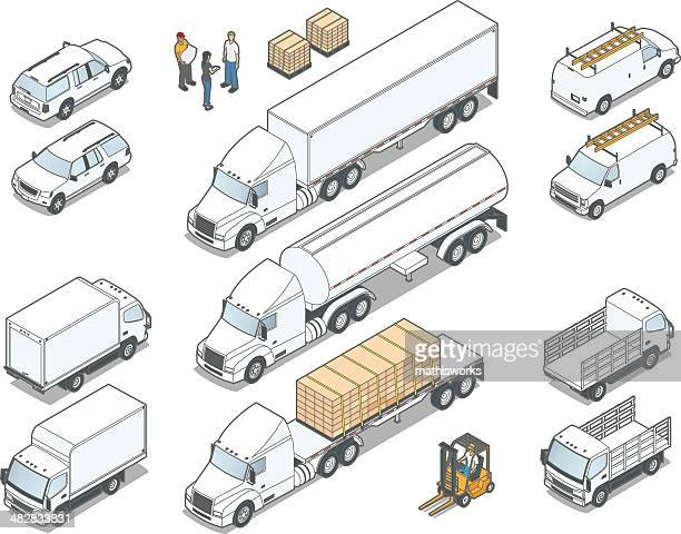 isometric trucks - mathisworks business stock illustrations