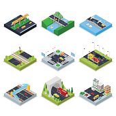 Isometric Urban Infrastructure with Roads, Crossroad, Cars and Bridge. City Traffic