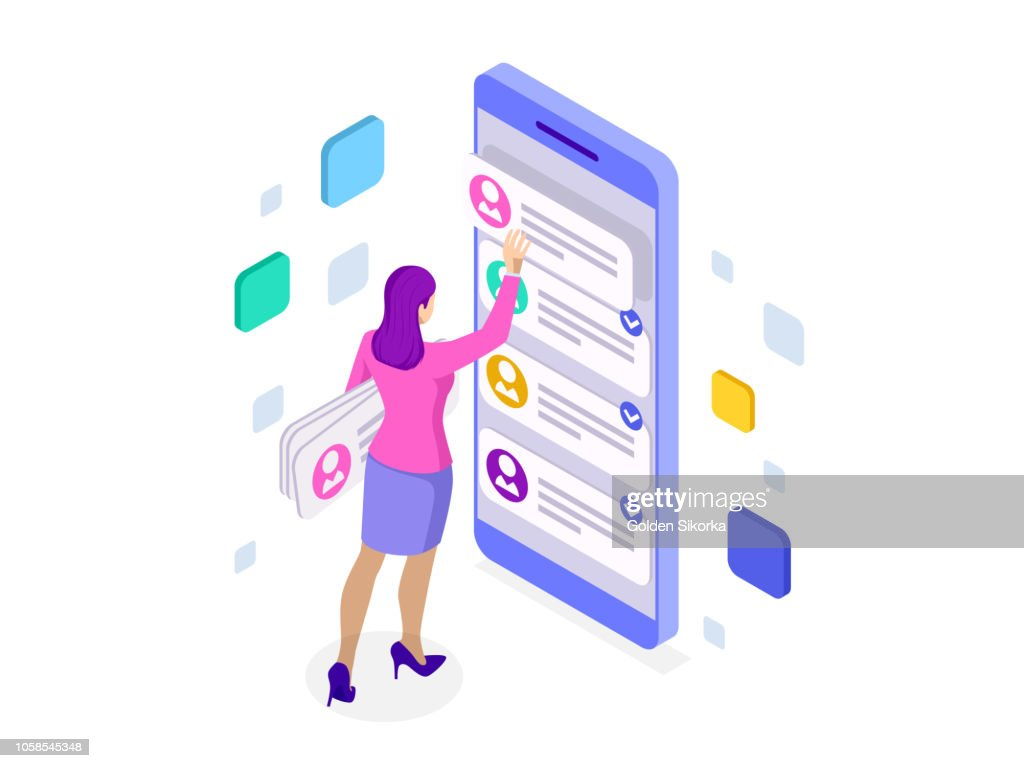 Isometric ux app development and holding smartphone. User experience. Website design and development.