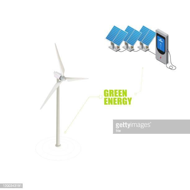 等角ベクトル充電杭,電気自動車用電源システムに太陽エネルギーと風力タービンを用いて - 風車塔点のイラスト素材/クリップアート素材/マンガ素材/アイコン素材