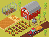Isometric vector farm elements and ecology cartoon gardening background