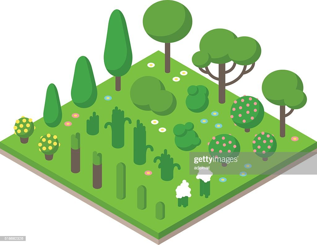 Isometric vector green tree set on field background illustration
