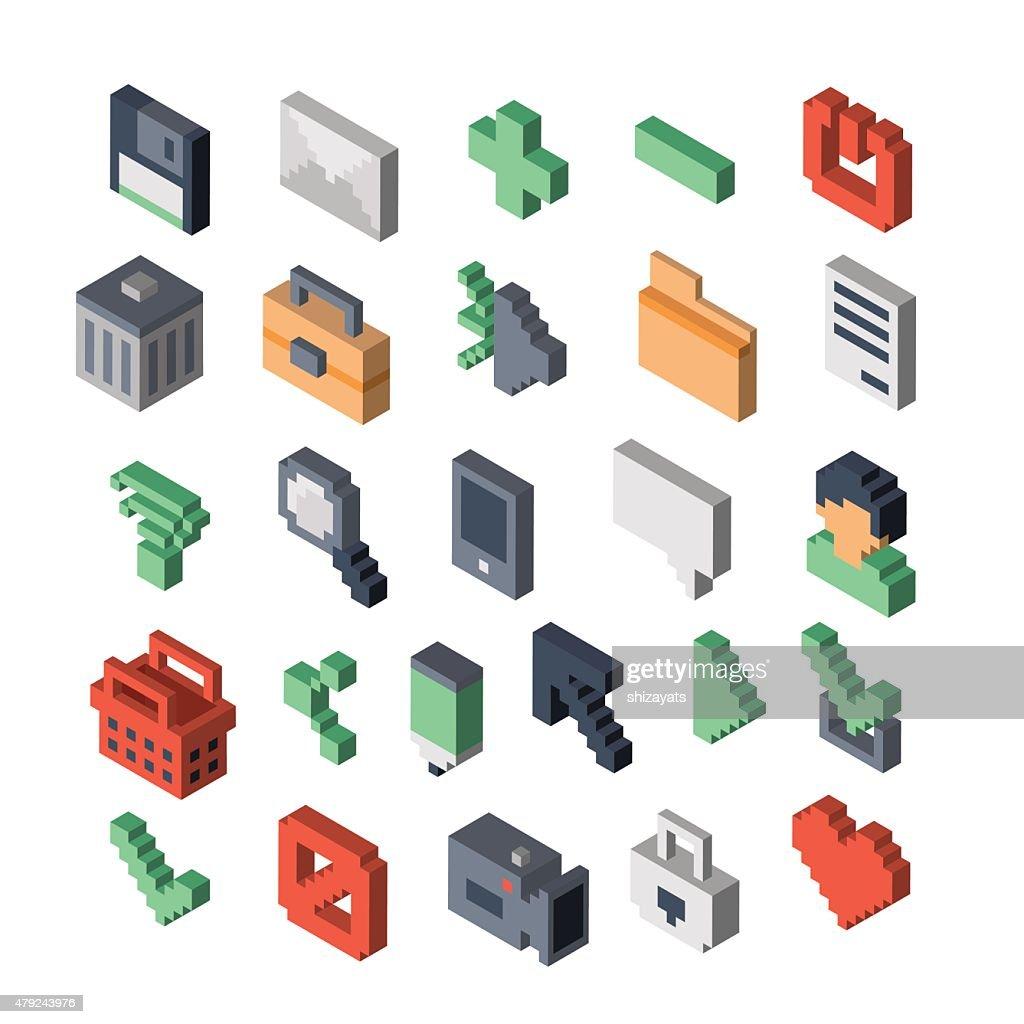 Isometric vector icons. 3D pixel style.