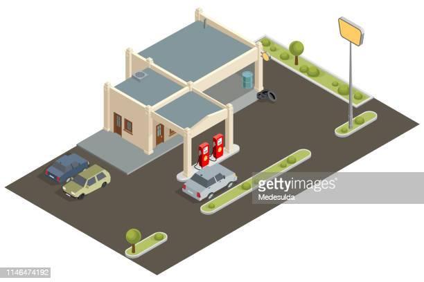 isometric - auto repair shop exterior stock illustrations