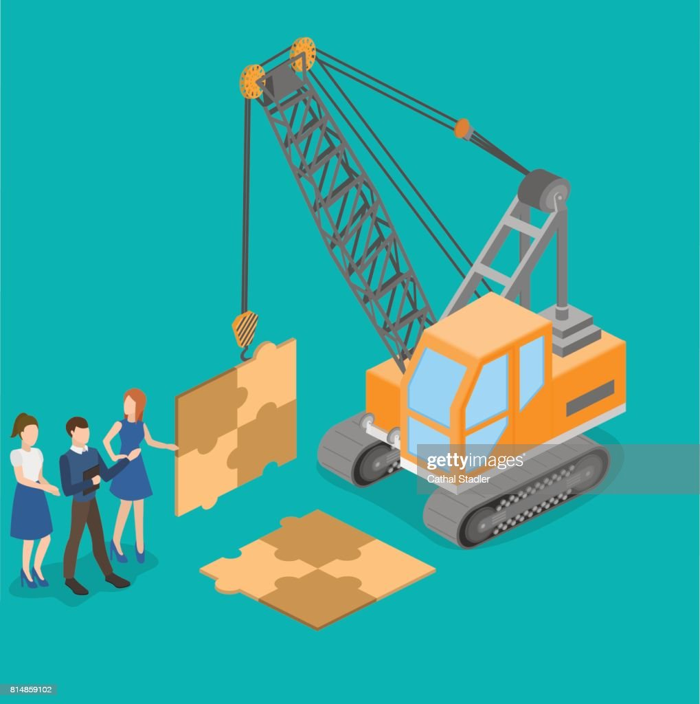 Isometric vector illustration 3D teamwork to build the project. Concept idea truck crane work together to achieve a common result.