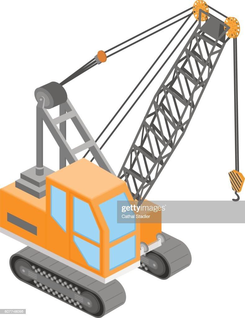 Isometric vector illustration 3D transport a truck crane.