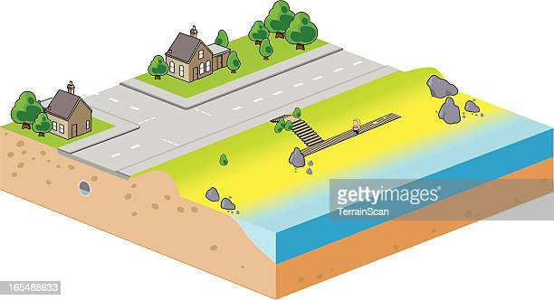 Isometric vector illustration of a beach