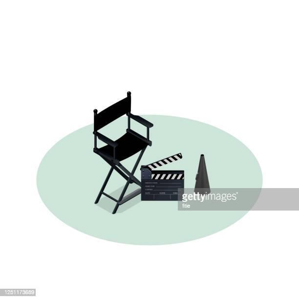 isometrische vektorillustration der filmregisseursammlung, - filmregisseur stock-grafiken, -clipart, -cartoons und -symbole