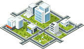 Isometric vector illustration of public constructions. Buildings and trees on 3d map fragment. Cartography picture