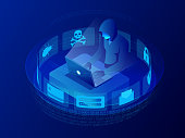 Isometric vector Internet hacker attack and personal data security concept. Computer security technology. E-mail spam viruses bank account hacking. Hacker working on a code. Internet crime concept.