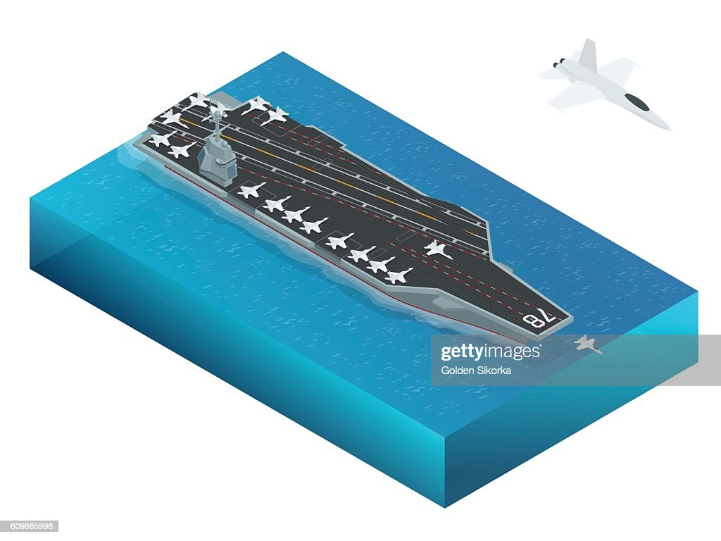 Isometric vector Navy Nuclear Aircraft carrier