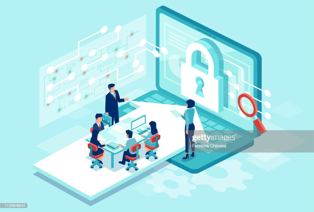 Isometric vector of a team working designing new software to protect personal data : stock illustration