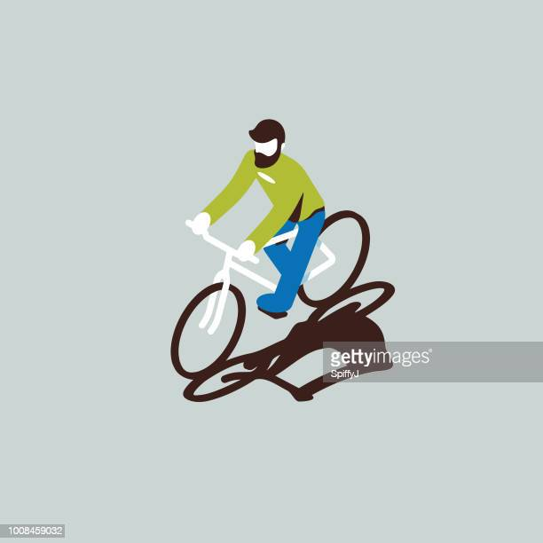 isometric vector person - bicycle stock illustrations