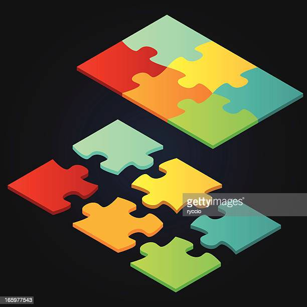 isometric vector puzzle - part of stock illustrations