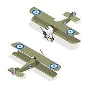 Isometric vector small airplane or old biplane.