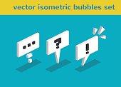Isometric vector speech bubbles set icon