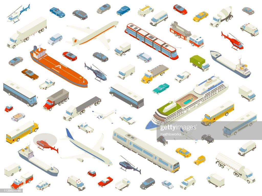 Isometric vehicle icons bold color : stock illustration