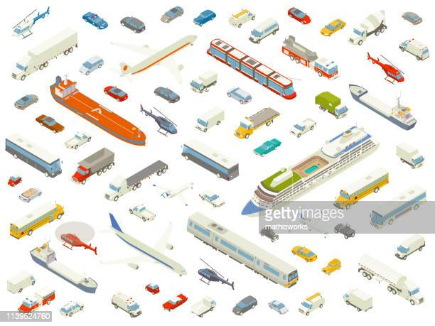 isometric vehicle icons bold color - land vehicle stock illustrations