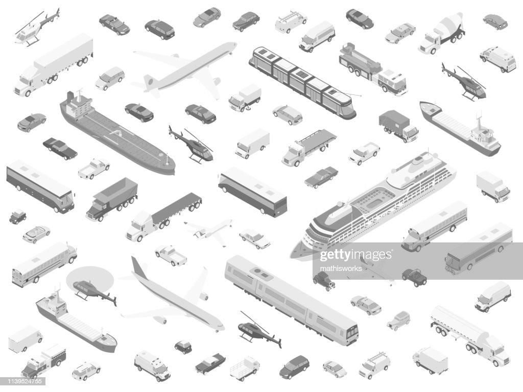 Isometric vehicle icons grayscale : stock illustration