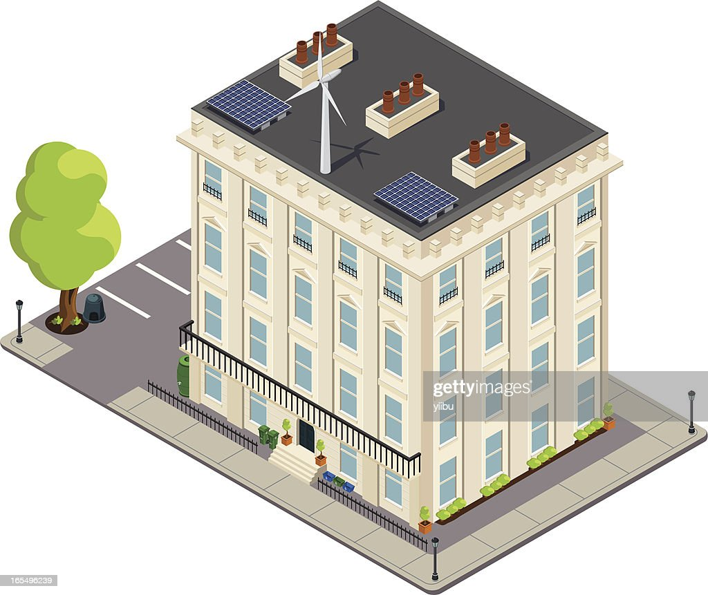 Isometric Victorian green or eco-friendly terrace : stock illustration