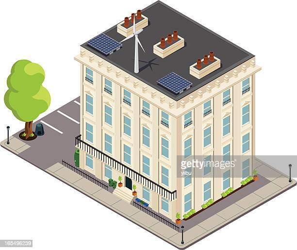Isometric Victorian green or eco-friendly terrace