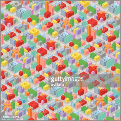isometric view colorful city