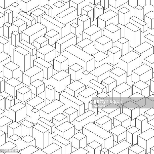 isometric view of abstract city - bloco stock illustrations