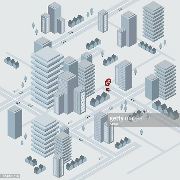 isometric virtual city - town stock illustrations