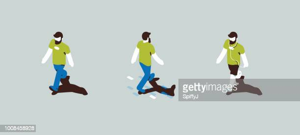 isometric walking character - racewalking stock illustrations, clip art, cartoons, & icons