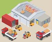 Isometric warehouse industrial scene