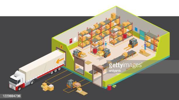 アイソメ倉庫 - 投影図点のイラスト素材/クリップアート素材/マンガ素材/アイコン素材