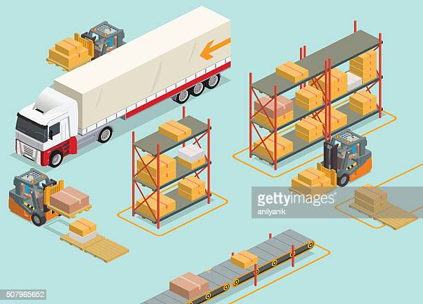 isometric warehouse - shipping stock illustrations