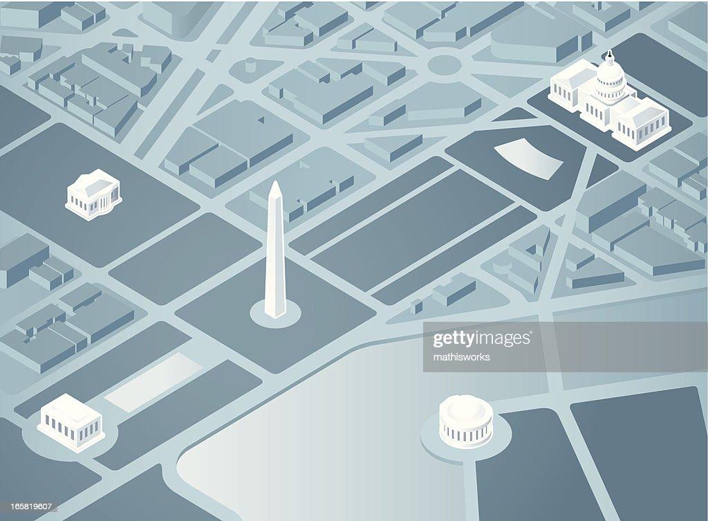Isometric Washington DC : stock illustration