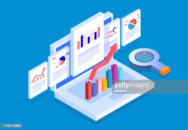 isometric web pages and business data reports - business strategy stock illustrations