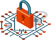 Isometric web security technology digital internet cyber protection 3d icon vector illustration