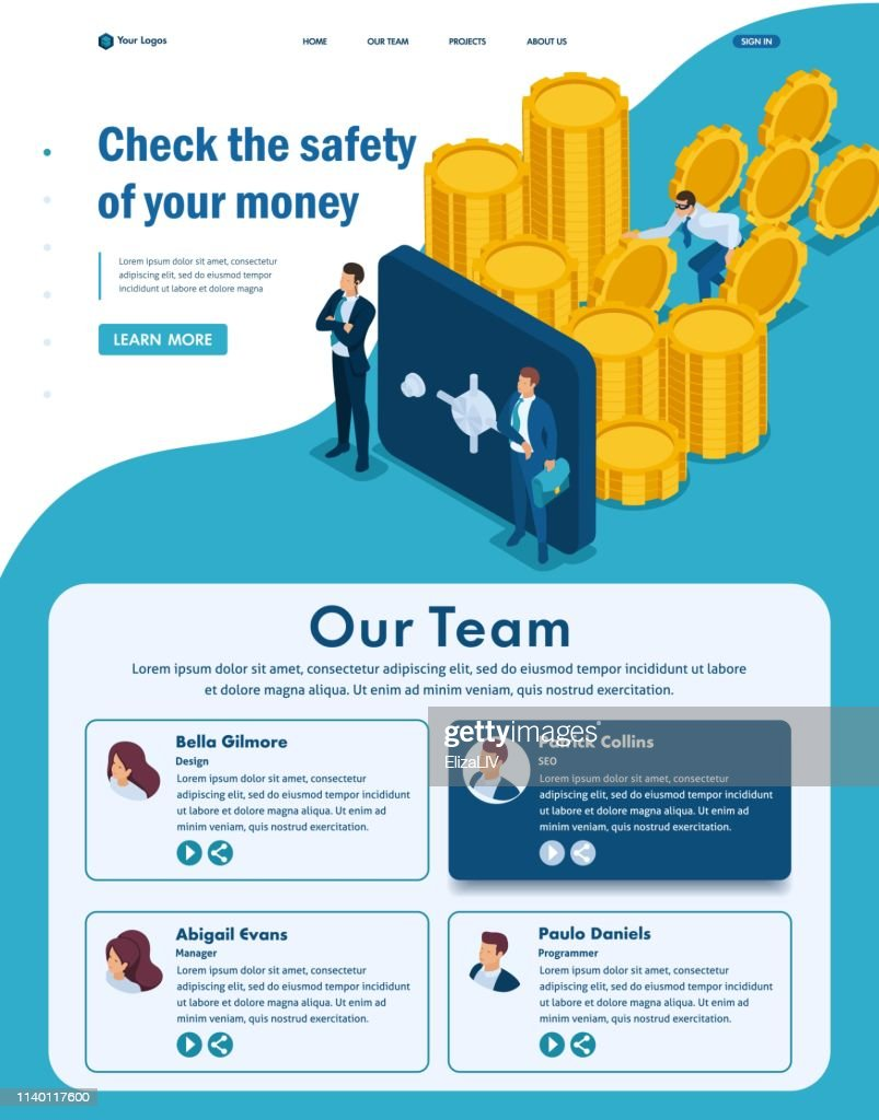 Isometric Website Template Landing page Protect your funds from external threats, theft