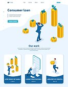 Isometric Website Template Landing page The man grabbed his head and looks at the amount of loans and their rates. Adaptive 3D