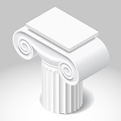 Isometric white capital of ancient column