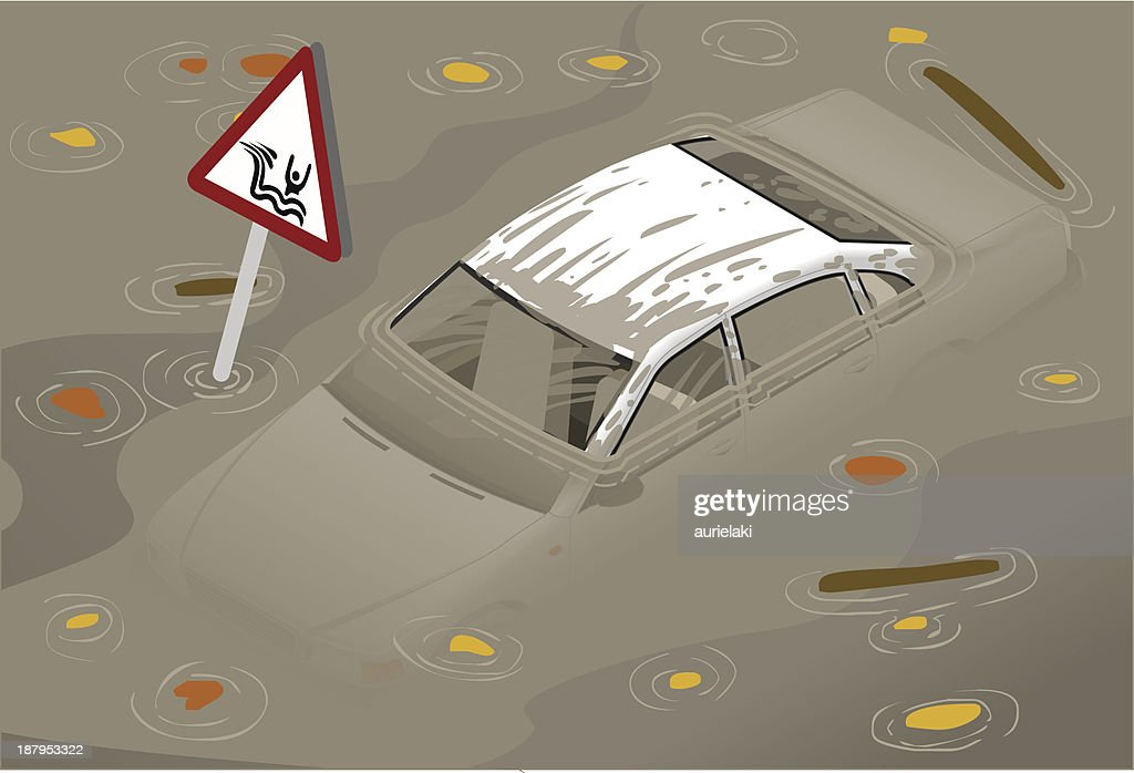 Isometric White Car Flooded in front view