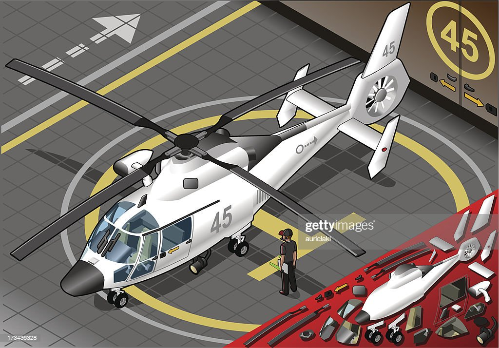 Isometric White Helicopter Landed in Front View