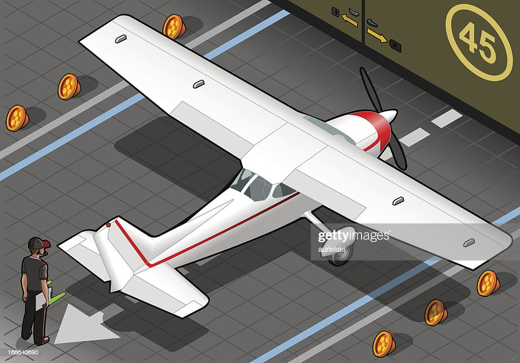 Isometric White Plane in Rear View