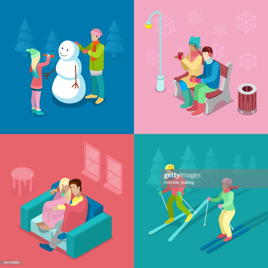 Isometric Winter People. Skiing Couple and Snowman