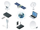 Isometric Wireless Technology and Global communication icons towers satellite antennas radio telescope router and Earth orbit space station GPS satellite isolated vector illustration World global net